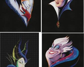 4 Set Disney's Villains Cross Stitch Patterns-Maleficent, Cruella, Evil Queen, Ursula