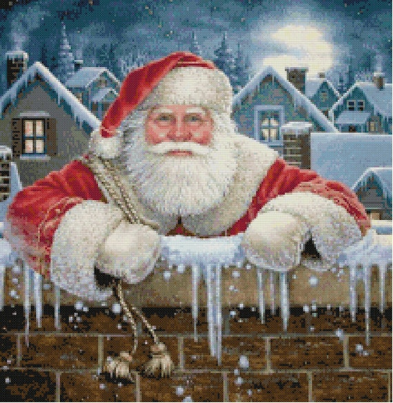 Santa Going Down the Chimney Cross Stitch Pattern-Christmas
