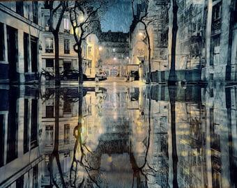 Paris Photography, Paris Art, Paris Prints, French Art, French Photo, Paris Rain, Blue Gold Reflections, Paris Photo, Print, France, Paris