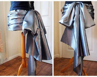 Silver Victorian Steampunk Bustle Mini Skirt Grey