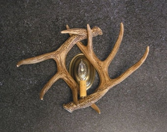 Whitetail Deer Faux Antler Wall Sconce