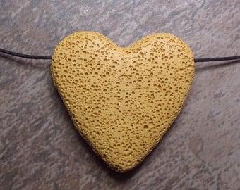 Lava Stone Bead - Pendant - Mustard -  Item 71077