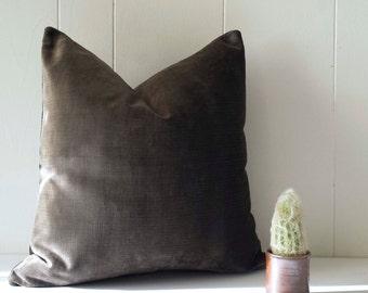 16x16 Mink Brown Velvet Throw Pillow Cover