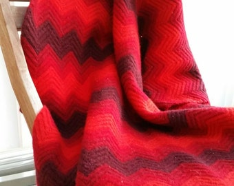 Red, Cranberry, & Plum Chevron Lap Afghan