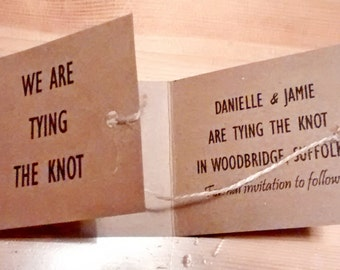 "Tie the knot, Save the date cards, ""Danielle"" knot"