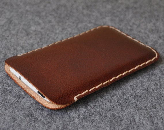 Samsung Galaxy S6 Edge S3 S4 or S5 Case Cover. Brown Italian Vegetable Tanned Leather. Handmade and Hand Sewn Pouch Sleeve Shell