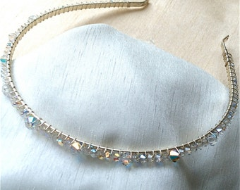 SALE. Hairband, Swarovski Sparkling Crystal, Handmade in Ab and silver.
