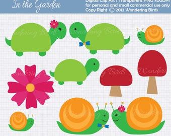 Snails and turtles Clipart For Personal and Commercial Use - Digital Clip Art  - Instant Download
