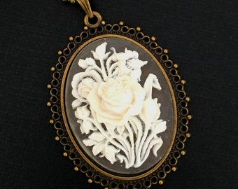 Oval Vintage Cameo Necklace, White Flower Cameo, Bronze Antique Brass Jewellery
