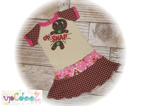 "Girls size 6/7  Upcycled New Gingerbread Oh Snap Christmas T-Shirt Dress   13"" x 26"""