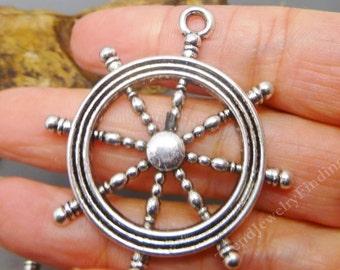2 LARGE Silver Nautical Pendant - Ship Wheel - Antique Tibetan Silver tone Charms Pendant -MC0427