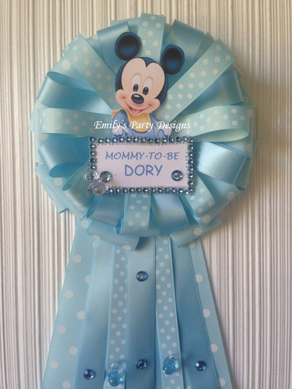 mommy to be baby shower corsage mickey