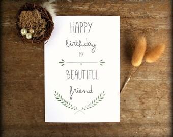 Printable Best Friend Birthday card - Friend Birthday Card -  Bestie Card- Modern Simple Card