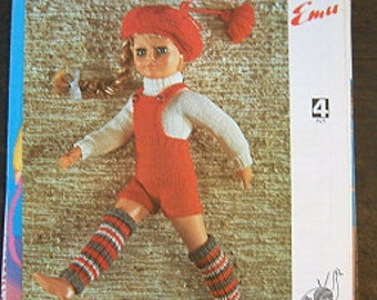 "6695 Emu Knitting Pattern 80s 18"" Girl Doll Clothes - Hot Pants Leg warmers - 4ply"
