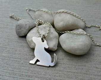 Handcut sterling silver dog pendant