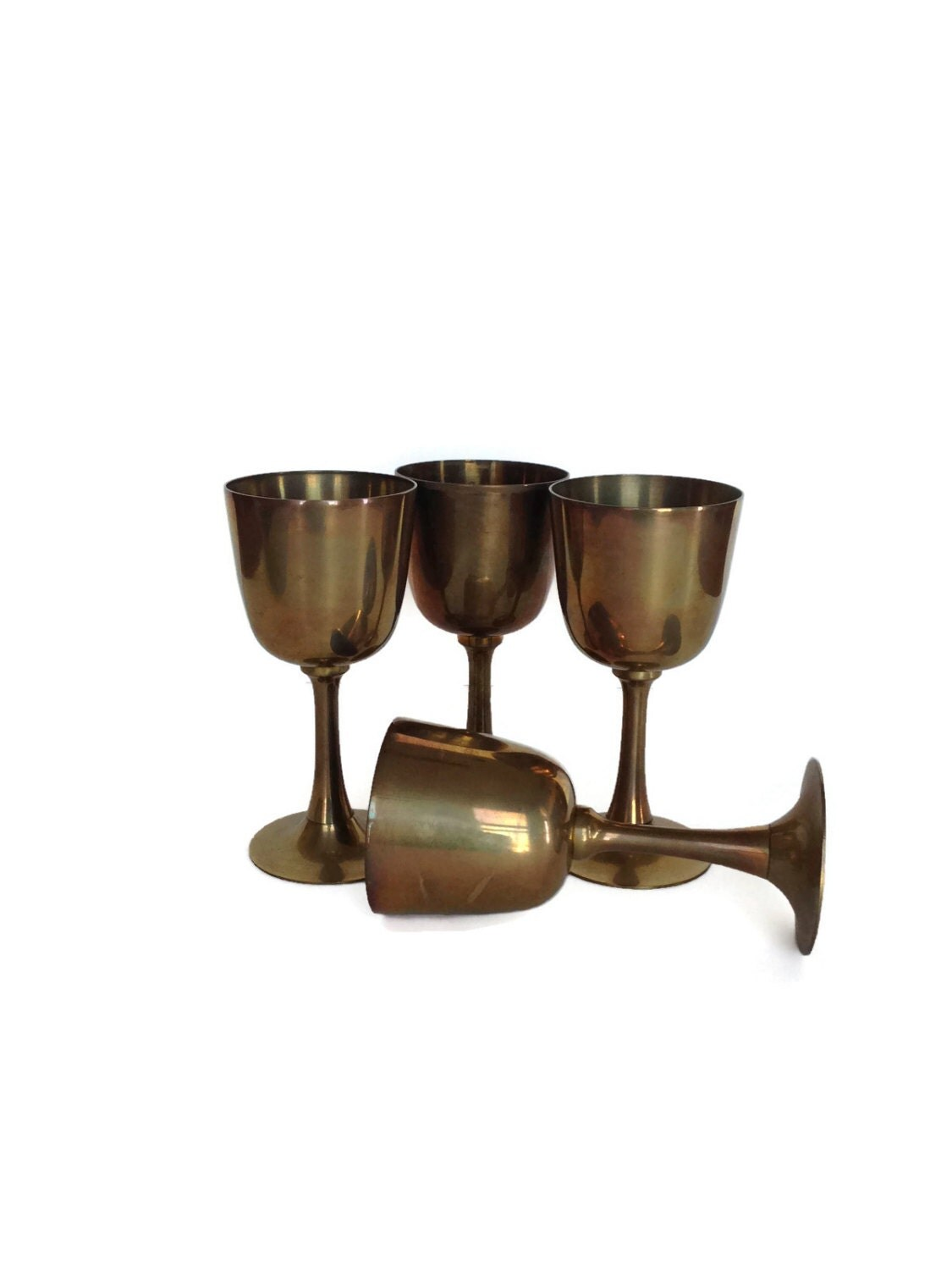 Metallic Wine Glasses : Vintage brass goblets metal wine glasses interpur by