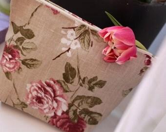 "Linen Cosmetic Bag ""Vintage Rose"""