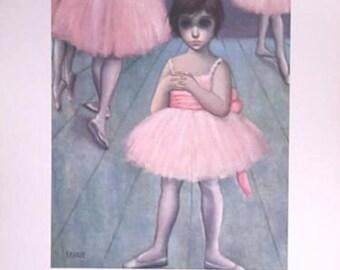 Walter Margaret Keane Big Eyes Lithograph Print Ballerina Girl 60's Retro Groovy Mod
