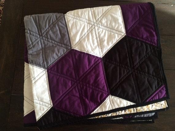 Modern Purple Gray And Black Hexi Quilt By Winstonandlou