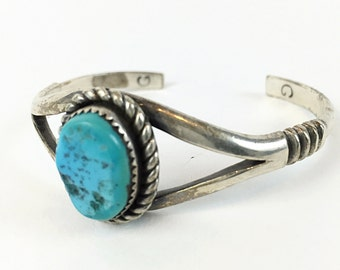 Navajo cuff Old Pawn Jewelry vintage TURQUOISE cuff Sterling Silver bracelet Native American CUFF Southwestern Bracelet