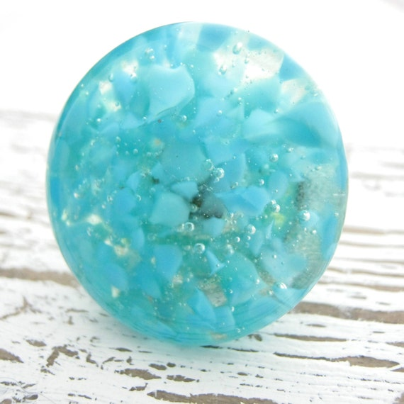 Turquoise fused glass cabinet hardware knobs by torchlakeglass for Turquoise cabinet pulls