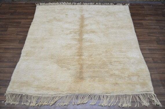 Large Ivory Soft Cream Beni Ourain Luxurious Solid Rug 8×9