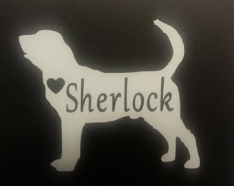 Bloodhound Vinyl Silhouette, DIY Decal, Silhouette Vinyl Decals, Monogram, Animal Lovers Gift,