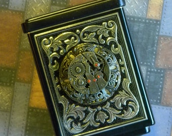 Beautifully Upcycled Vintage Tin Coin Bank Steampunk Embellished Watchwork Cabochon