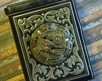 Beautifully Upcycled Vintage Tin Coin Bank Box Embellished with Steampunk Style Watchwork Cabochon