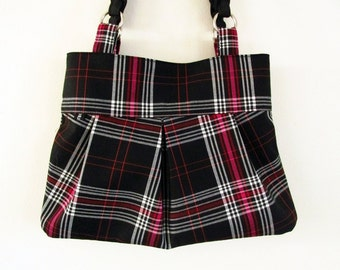 Black white and pink purse, plaid purse, pleated purse, pleated handbag, shoulder bag