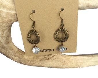 Boho Dangle Earrings Crystal Earrings Long Earrings Rustic Boho Earrings Boho Jewelry Vintage Brass Jewelry with Crystals