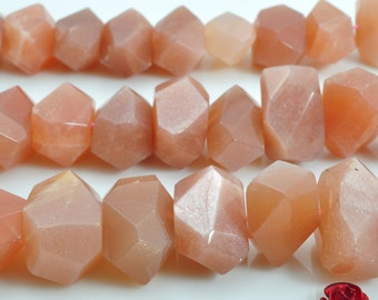 15 inches of Natural Sunstone faceted nugget beads in 10x13mm-12x18mm