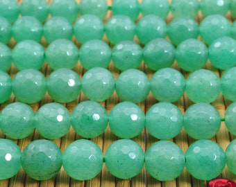 47 pcs of  Green Aventurine faceted round  beads in 8mm