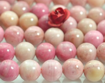 15 inches of Chinese Rhodonite smooth round beads in 7mm