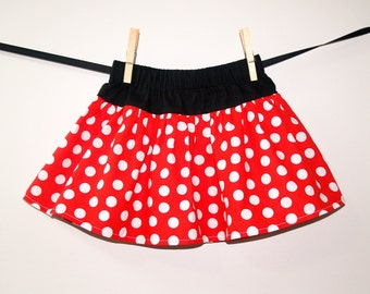 Minnie Ruffle Skirt, Red White Polka Dot Skirt, Baby Girl Skirt, Red White and Black Twirl Skirt, Boutique Girls Skirt