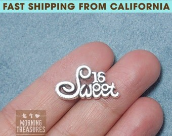 4pcs Sweet 16 Charms - Sweet 16 years old Charm Antique Sliver Plated - B003