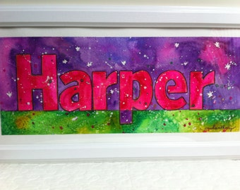 Personalized name painting, kids name painting, custom made to your liking, any name, any color, any theme