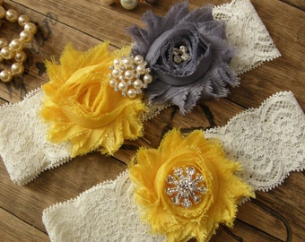 Gray / Yellow / Wedding Garter / Bridal Garter / Toss Garter / Vintage Inspired / Garter Set / Lace Garter