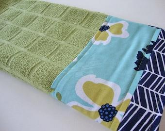 Decorative Kitchen Dish Towels - Fabric Trimmed Hand Towel - Tea Towel - Bath Hand Towel - Green Floral Towel - Joel Dewberry