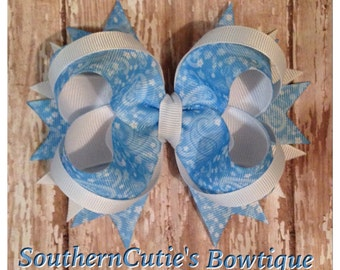 Blue Paisley Stacked Hairbow