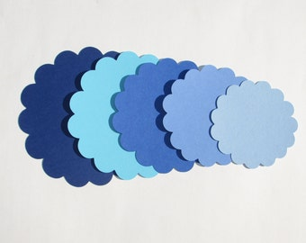 "50 BLUE Paper Scallop Circles die cuts, your choice of size, 1"",1.5"",2"",2.5"",3"", 3.5"", great for tags, scrapbooking, baby shower"