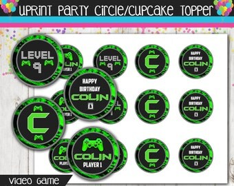 Video Game Cupcake Toppers - Boys Video Game Party - Gamer - Boy -  2inch or 2.5inch Circles