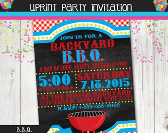 Backyard BBQ Invitation - Backyard Party Invitation - BBQ - Family Reunion -