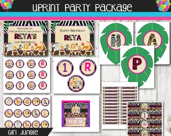 Girl Jungle Party Package - Safari Party Package - Personalized Printable