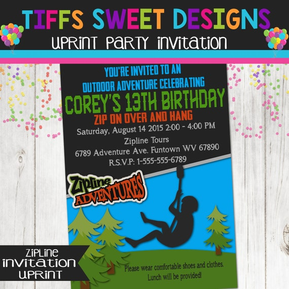 Zip Line Birthday Party Zip Line Invitation Boys Outdoor