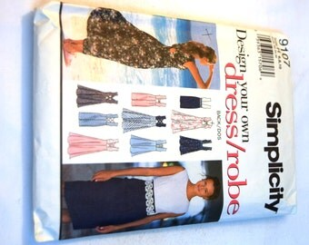 Misses Simplicity 9107 sleeveless dress straight or A line skirt sewing pattern