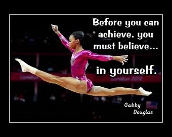 "Gabby Douglas, Gymnastics Wall Decor, Daughter Wall Art, Gymnast Decor, Motivation Poster, Daughter Inspiration, Daughter Gift 8x10"", 11x14"""