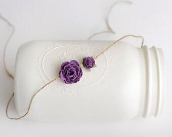 Tieback Headband, Purple Tieback, Purple Headband, Purple Tieback Headband, Flower Tieback, Flower Headband, Newborn Headband