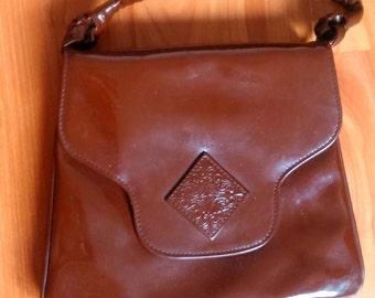 Romanian made vintage retro PVC purse woman women accessories brown handbag