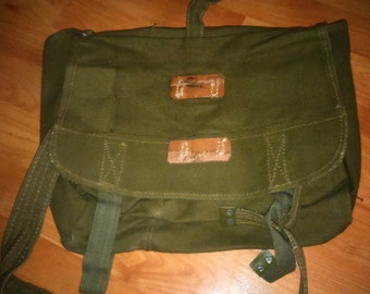 Vintage Romanian military army canvas bag green messenger bag, cross body bag